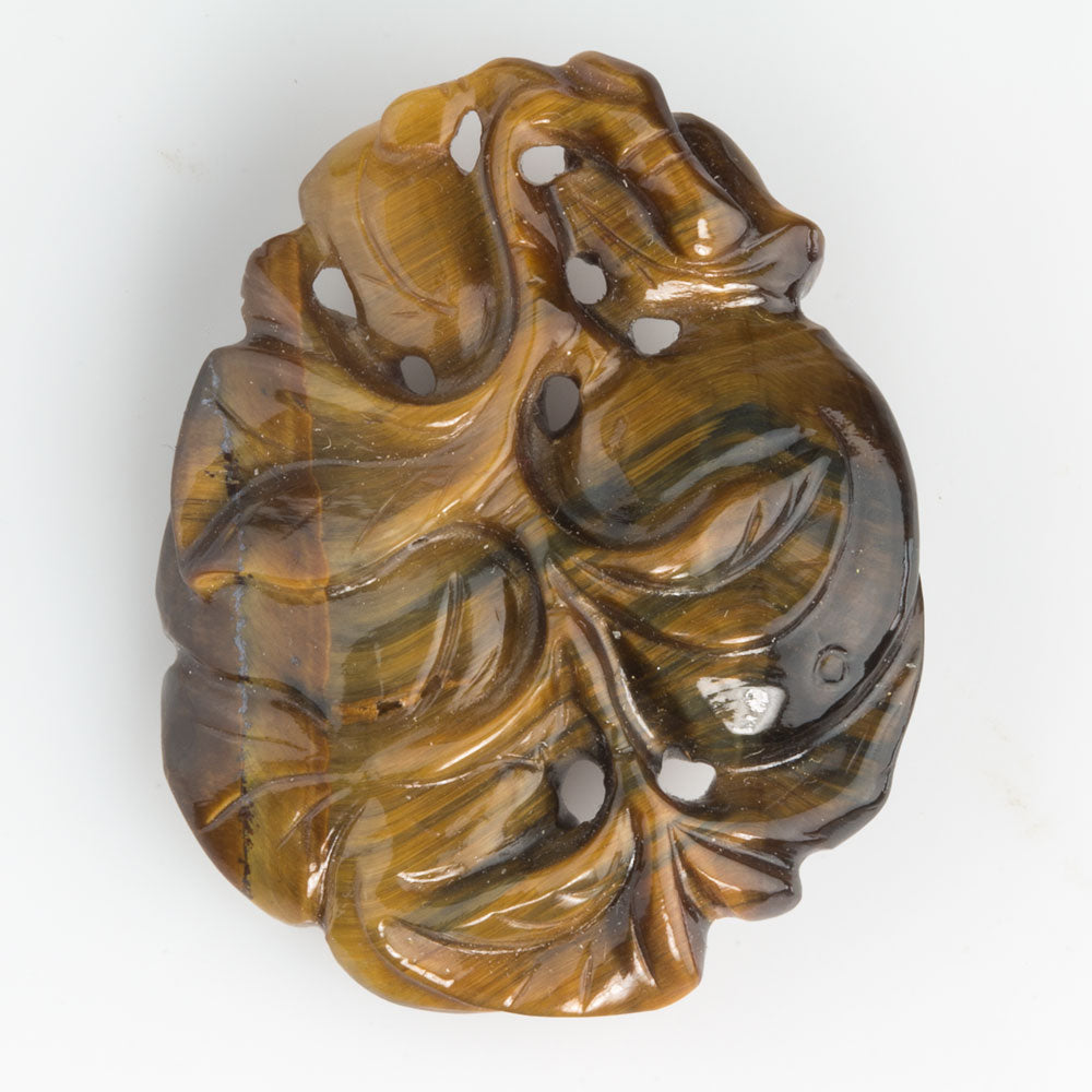 Superb vintage carved Tiger's Eye agate pendant, 1970s.
