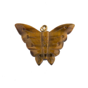 Vintage hand carved tiger eye agate butterfly pendant. 33x25mm. b4-tig339
