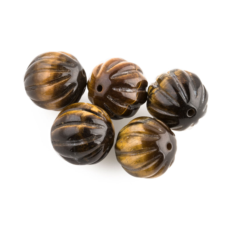 Vintage Tiger Eye Agate carved melon beads.  12mm. Pkg. 2.  b4-tig340
