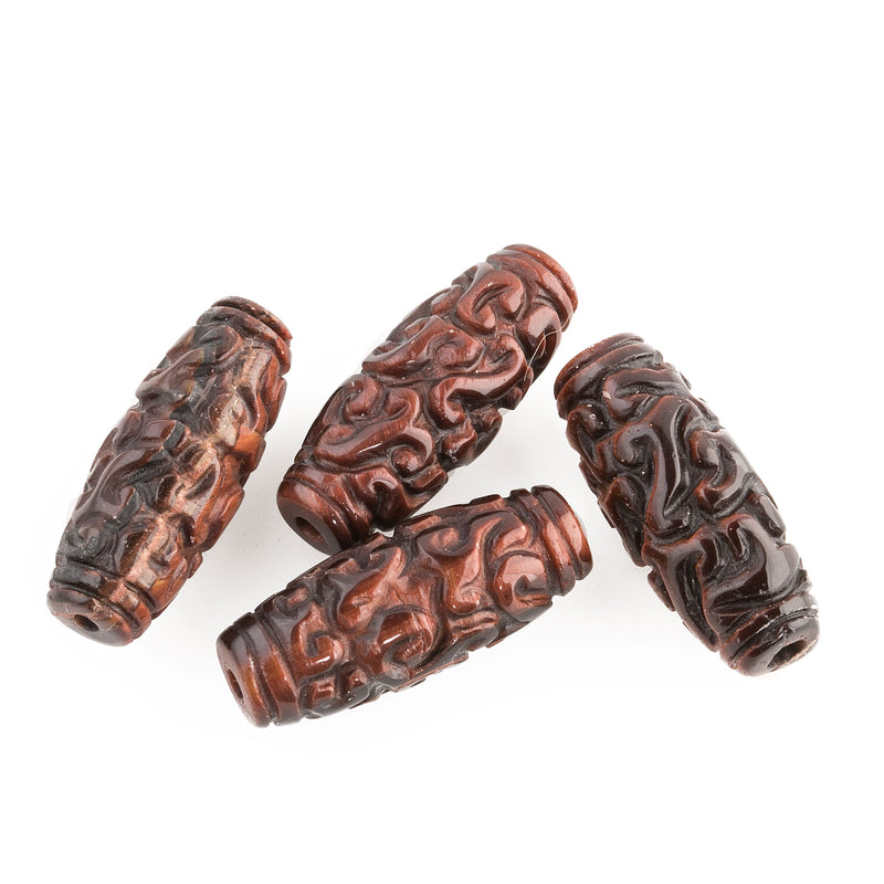 Intricately carved red tiger eye oval beads. 24x10mm. 1970s Chinese export. b4-tig341
