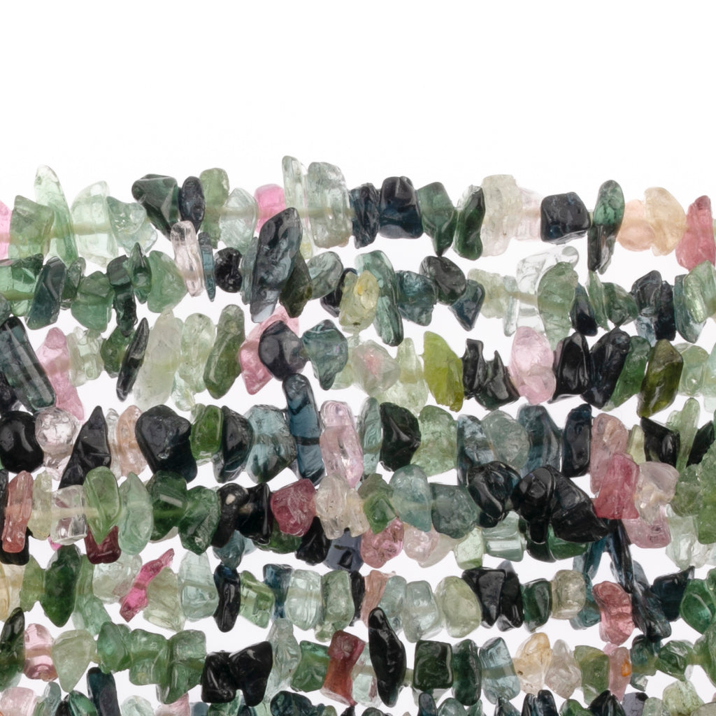 Vintage natural Tourmaline chip bead strand, 5-9mm. 16 inch strand.  b4-tou081