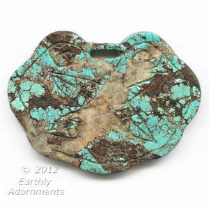 Vintage carved matrix turquoise lock pendant. 80x60x10mm. Pkg of 1. b4-tur407a