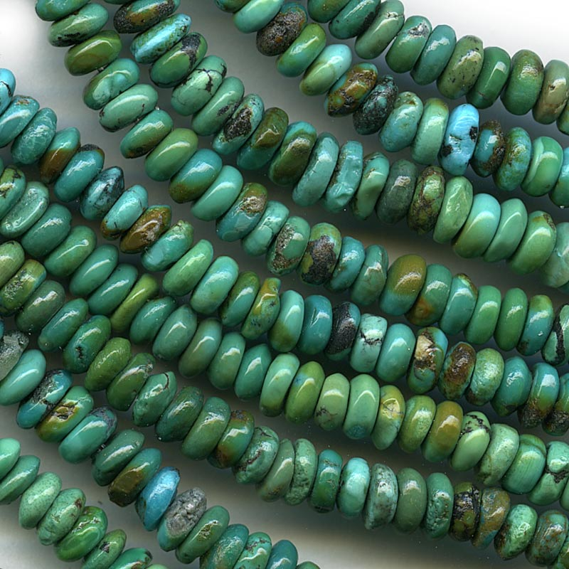 b4-tur433-Natural Chinese turquoise rondelles. average 6x2mm. 16 inch strand