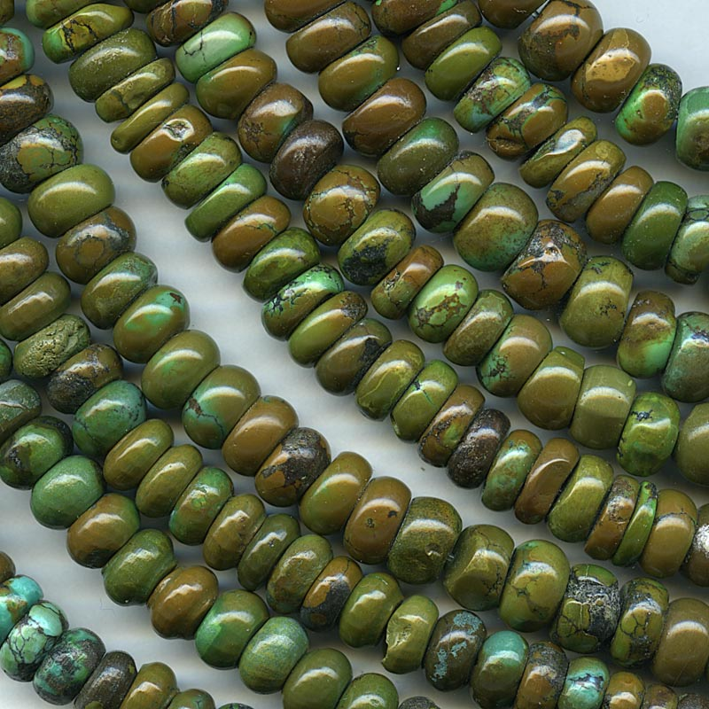 Natural Chinese olive green and brown turquoise rondelles. 9x5mm. 6 3/4