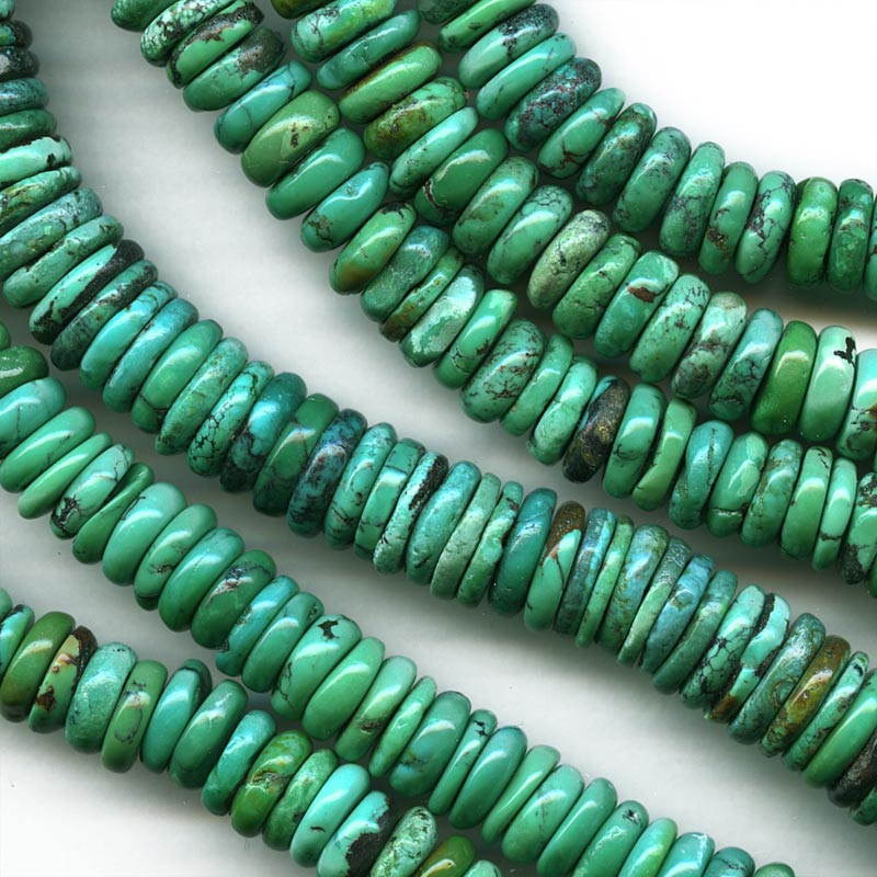Natural Chinese turquoise disks. 9.5x2mm. 3 1/2 inch strand. b4-tur436