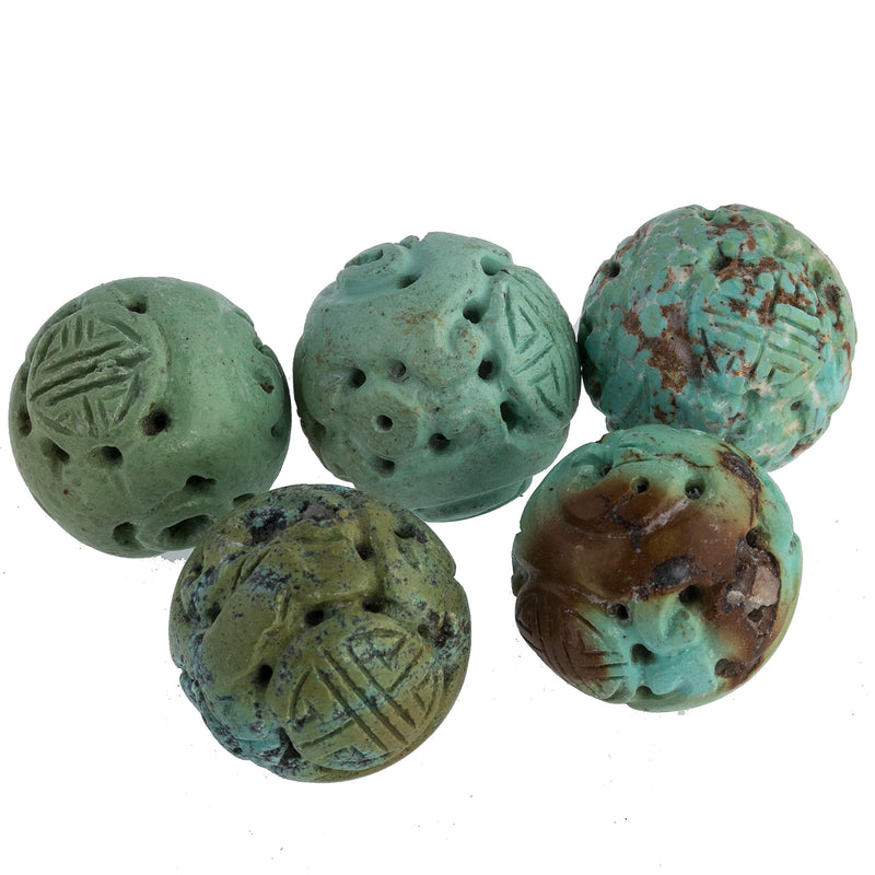 Vintage carved and pierced Chinese turquoise 23mm round Shou beads. 5 pcs. b4-tur458