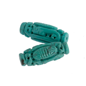 Vintage carved and pierced elongated Chinese turquoise Shou beads.  23x10mm. 1pc. b4-tur460