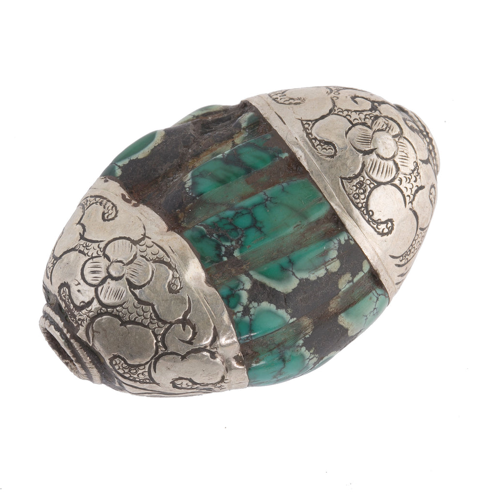 Antique Tibetan carved flattened oval turquoise melon bead with sterling silver caps.  40x28x17mm . b4-tur461