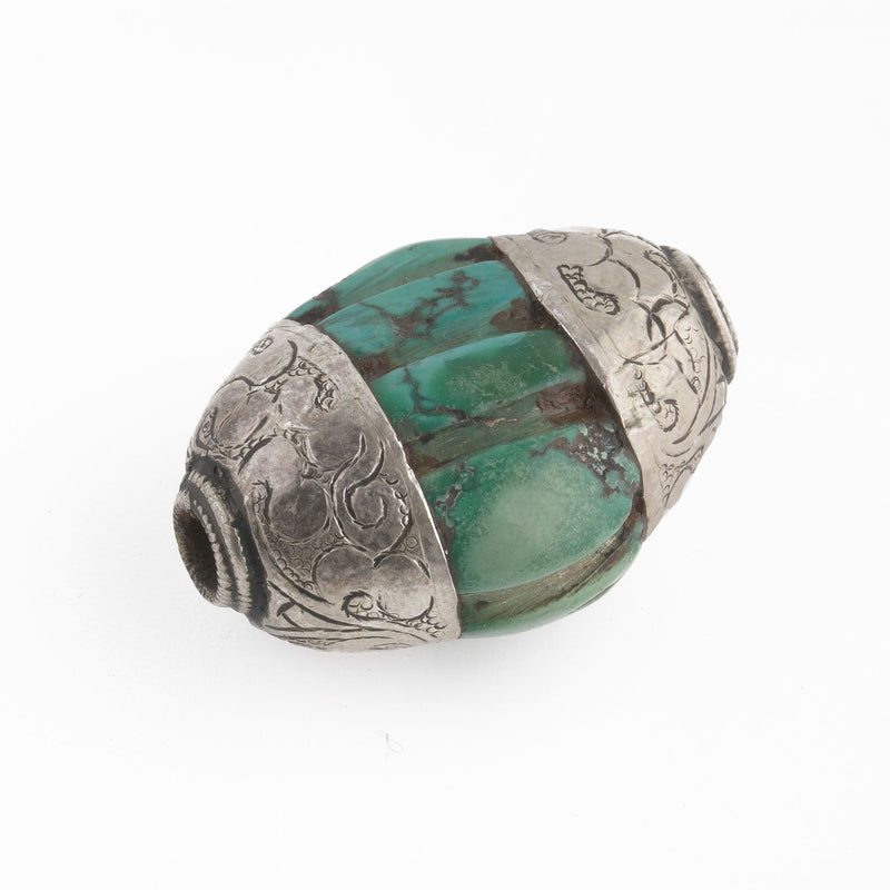 Antique Tibetan carved flattened oval turquoise melon bead with sterling silver caps.36x26x18mm . b4-tur463