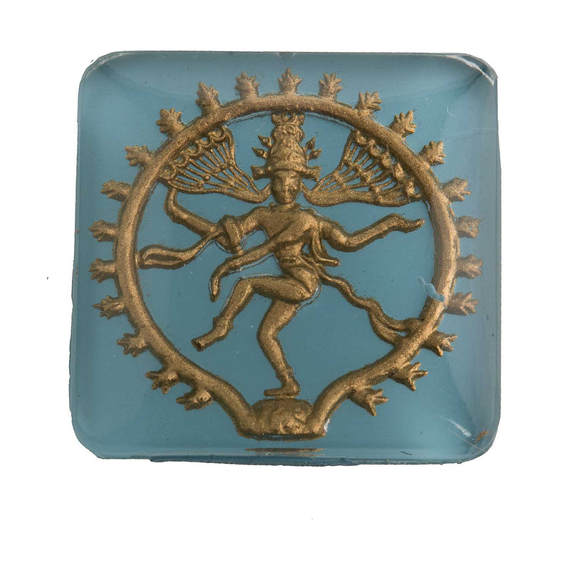 Hindu god Shiva intaglio stone. flat back. West Germany 1950s. 25mm. sq. Sold individually. B5-0125b(e)