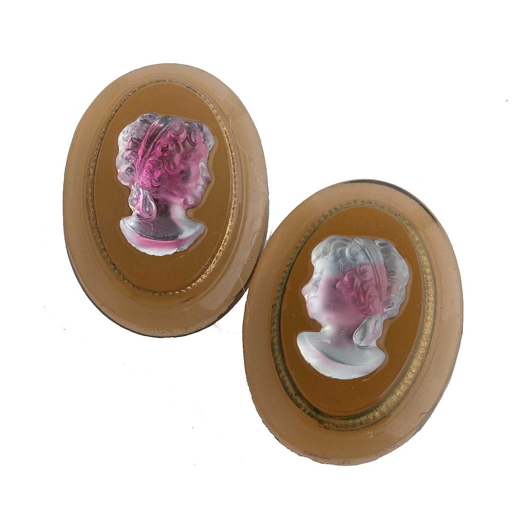 Vintage German glass cameo.14x19mm. 1 Pair. B5-0137(e)