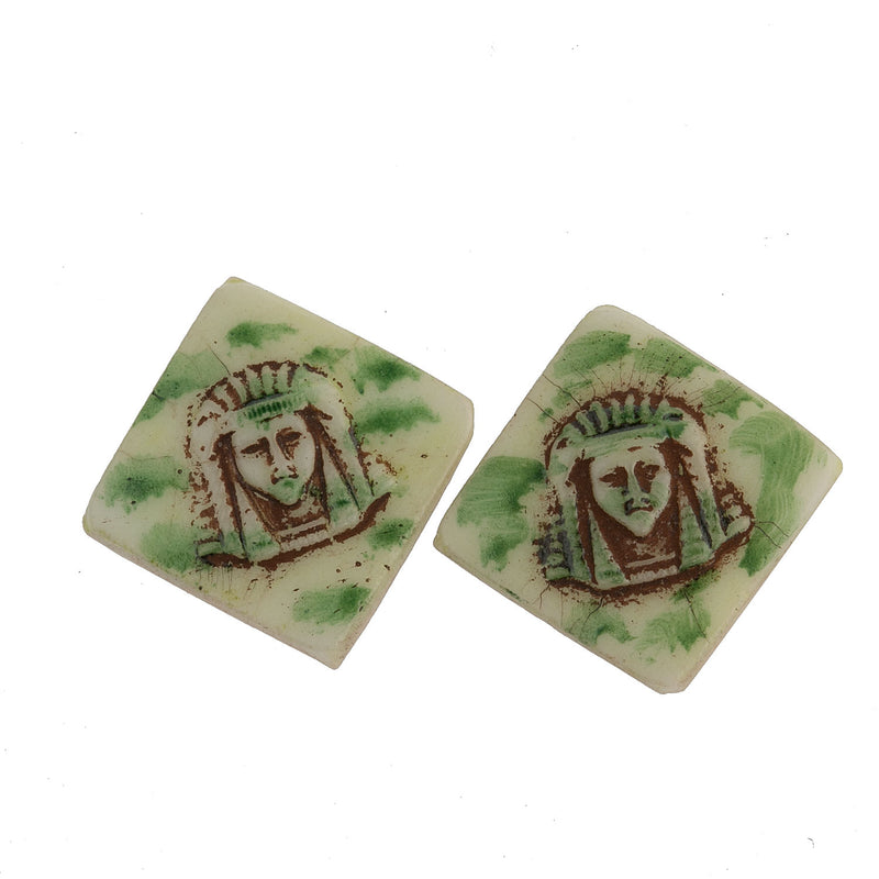 Vintage Egyptian Revival flat tiles. 14mm square.West Germany. Pkg.2. b5-0141-4