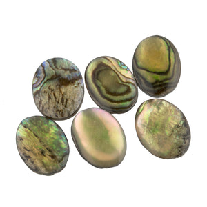 Natural solid abalone oval cabochons,  13 x 18mm  Pkg. 2 . b5-0271-2