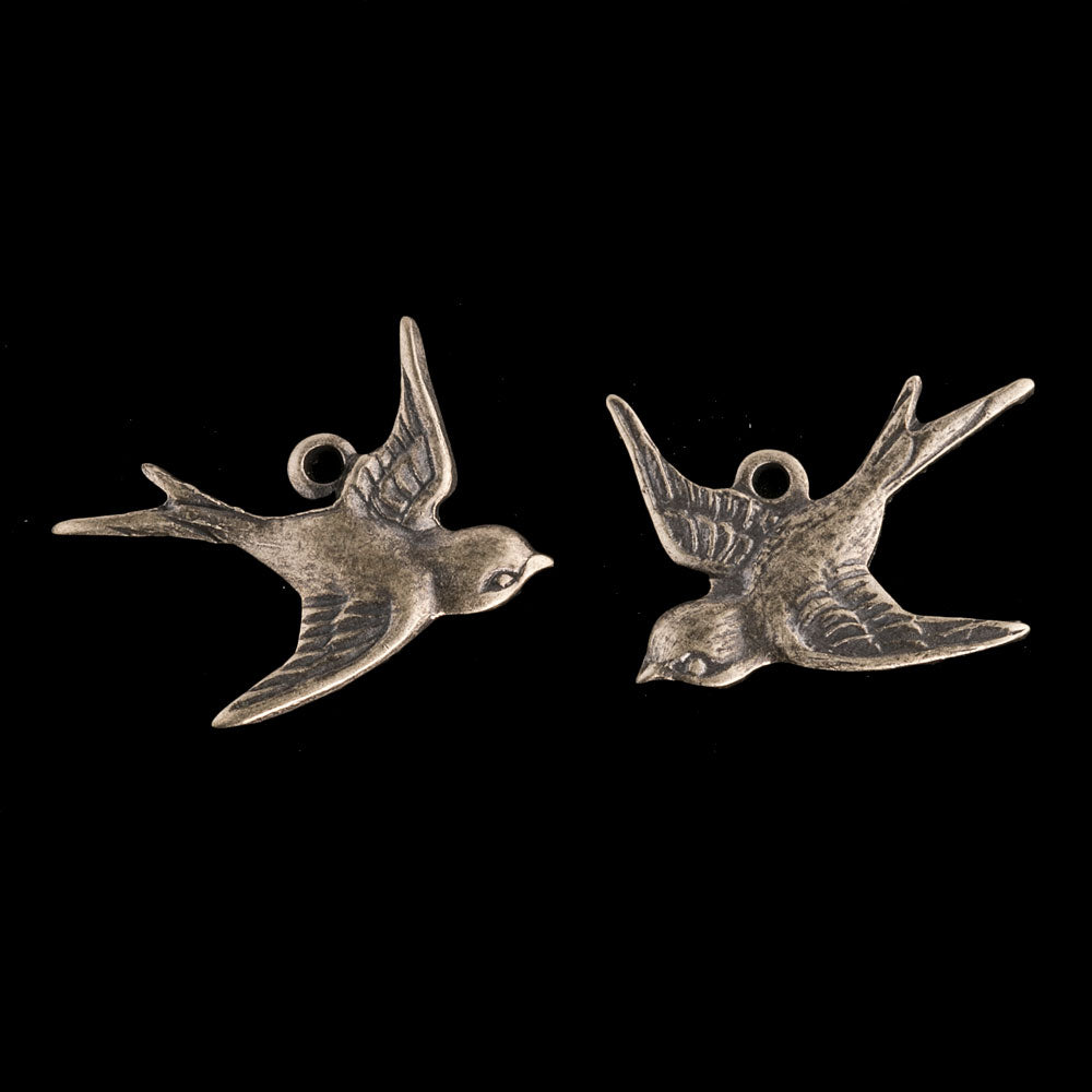 Oxidized brass bird 1 ring charm, 17x15mm, left & right. 1 pair. b9-0549-1