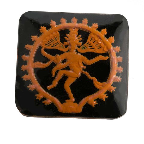 Hindu god Shiva intaglio stone - silver foil on black under clear glass. flat back. West Germany 1950s. 25mm. sq. Sold individually. b5-0125d(e)