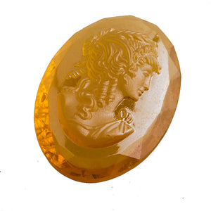 Vintage Opalescent Amber Glass Cameo Germany. 14x18mm. Pkg of 1. B5-0133-1