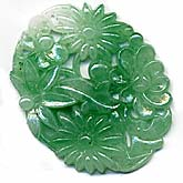 Vintage 1950s Japanese jade glass cabochon or pendant. 28 x 35mm. Pkg 2. b5-0258