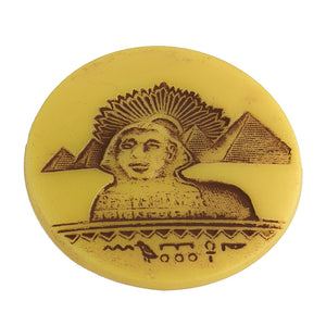 Egyptian revival 34mm round glass cabochon with Sphinx Pkg of 1. b5-0265