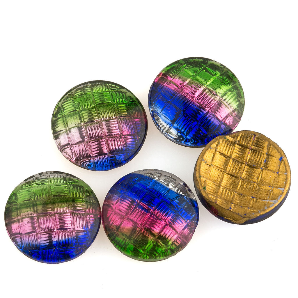 Vintage vitrail basket weave glass cabochon. Japan, 13mm. Pkg 4 . b5-0269