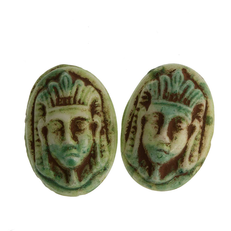 Vintage Egyptian Pharaoh Head Cabochon. 16x12mm. Czechoslovakia. Pkg of 2. b5-0299(e)