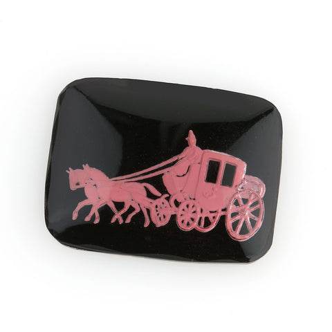 1950's Carriage & horse intaglio, 27x22mm, Pink on black. Pkg of 1. b5-331-1