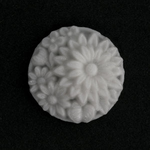 Vintage Japanese Cherry Brand white glass floral cabochons. 25mm. Pkg of 1. b5-408(e)