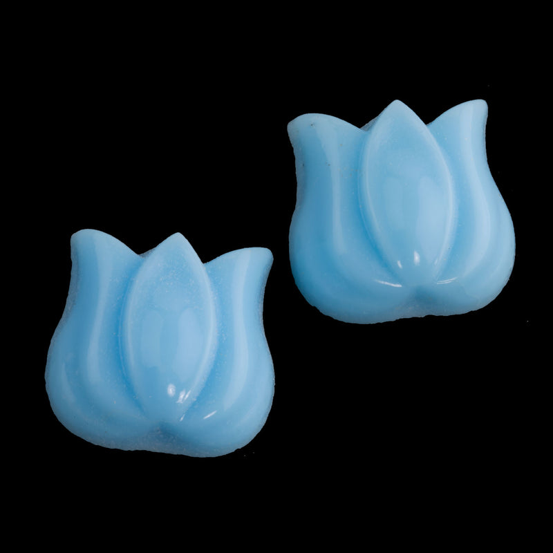 Vintage opaque turquoise blue flat back tulip. 14x12mm. West Germany. Pkg of 2. b5-428c