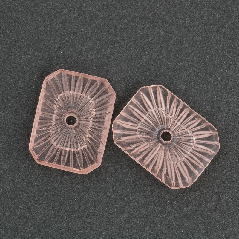 Vintage rose frosted sunray octagon.20x15mm with center inset. Pkg of 2. b5-436(e)