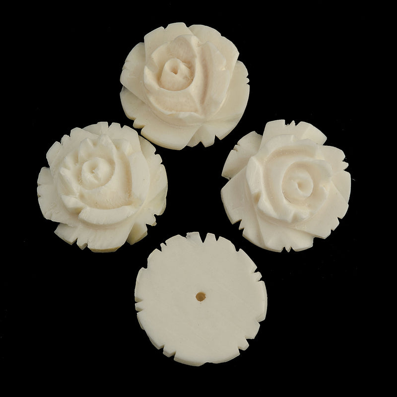 Vintage flat-back carved bone rose cabochons. 12mm. Pkg of 4. b5-445(e)