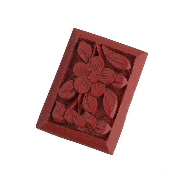 b5-499b-Carved red cinnabar rectangle cabochon. 18x13mm. Pkg of 1