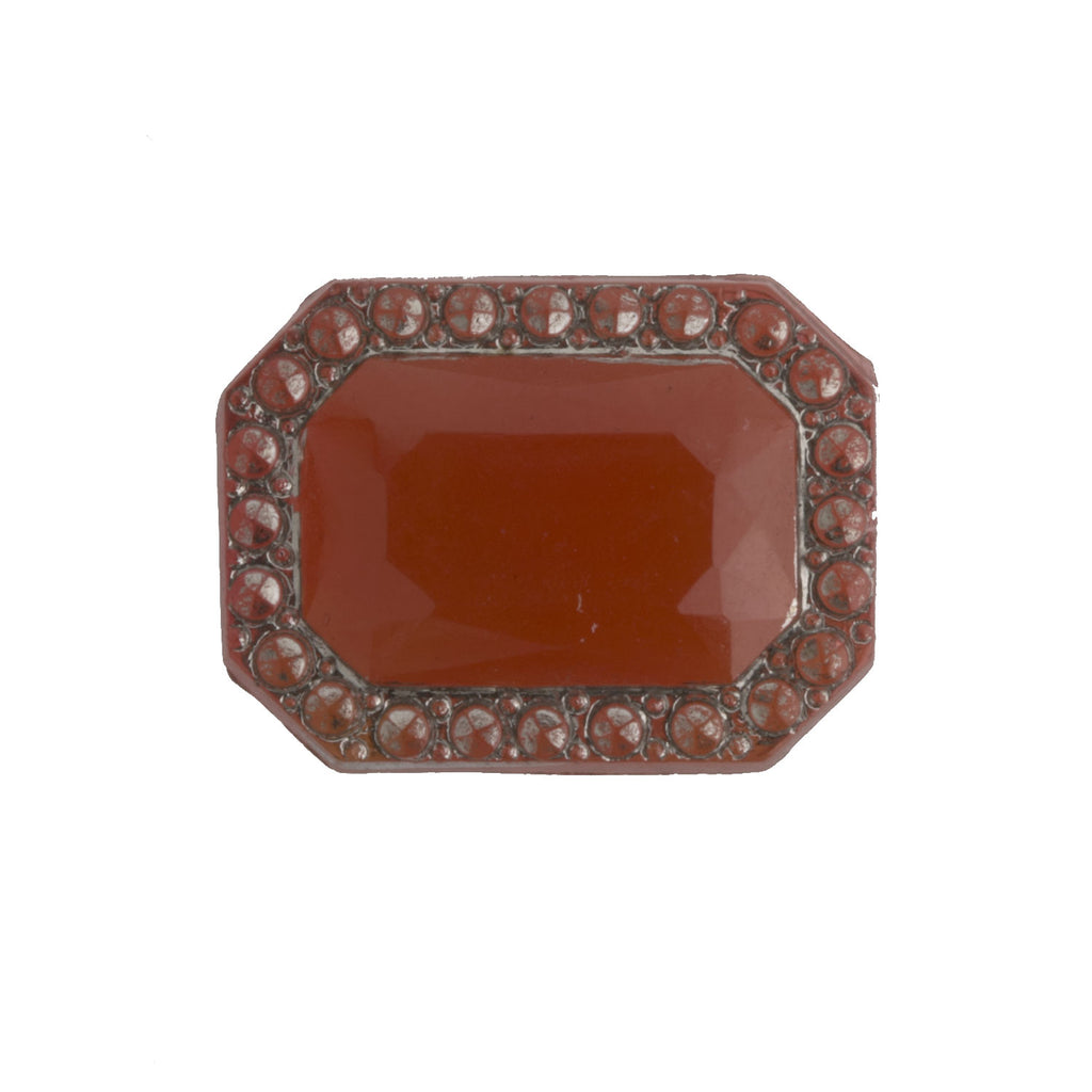 Art Deco Bohemian carnelian glass flat back stone, 12x16mm..Czechoslovakia 1920s. Pkg of 1. b5-528-5