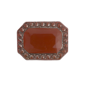 Art Deco Bohemian carnelian glass flat back stone, 12x16mm..Czechoslovakia 1920s. Pkg of 1. b5-528-5(E)