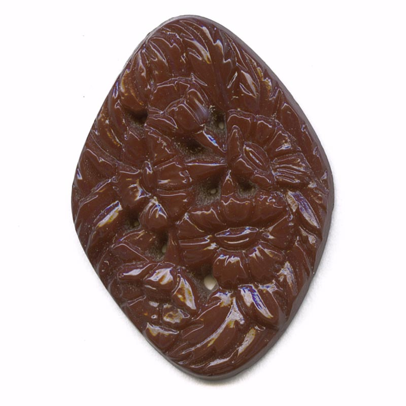 1920s Gablonz molded glass floral stone 35x25mm pkg of 1. b5-613