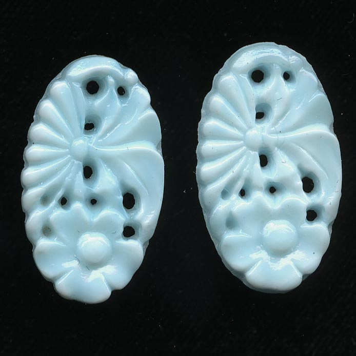 1920s Gablonz Robin's egg blue molded glass floral stone or pendant 21x12mm pkg of 2. b5-568
