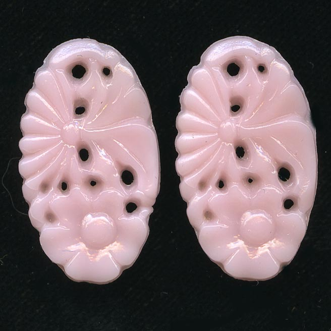 1920s Gablonz molded glass floral stone or pendant 21x12mm pkg of 2. b5-570