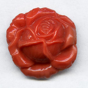 Vintage molded coral glass rose stone 20mm pkg of 1. b5-577-2(e)