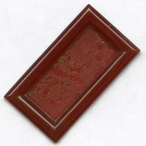 b5-583-1920s Gablonz molded glass floral pierced glass in matching glass setting 42x25mm pkg of 1