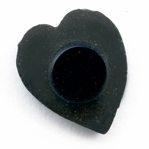 Antique French molded matte jet glass heart, 10x9mm Pkg of 2. b5-715