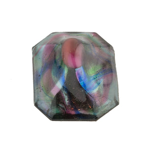 Stunning rainbow foiled domed octagonal stone. 33x24mm 1 piece. b5-752
