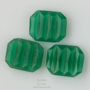 Art Deco Bohemian emerald glass rectangular geometric cabochons. b5-945