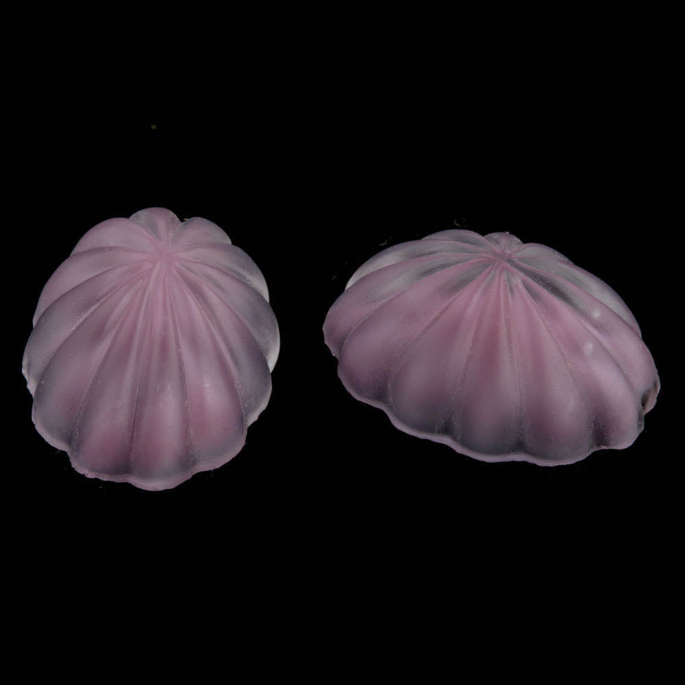 Vintage fluted matte givre glass oval cabochon. 18x13mm. Pkg. of 2. b5-964