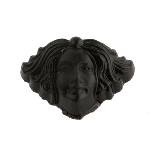 Matte black glass molded Art Nouveau lady head stone. 18x11.5mm. Pkg 1.  b5-969