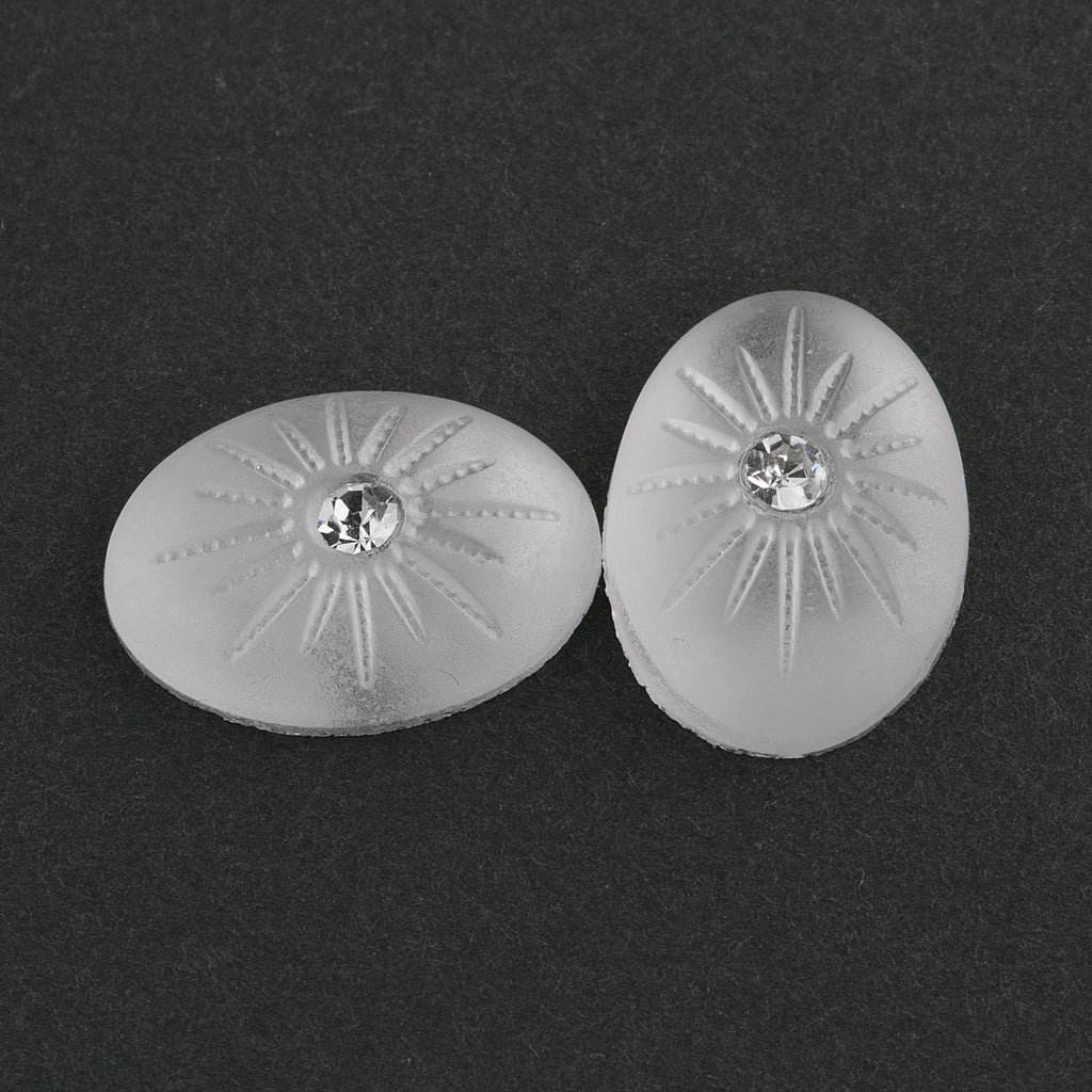 Frosted matte crystal domed 18x13mm flat back oval cabochon with crystal stone. Pkg. 2. b5-972