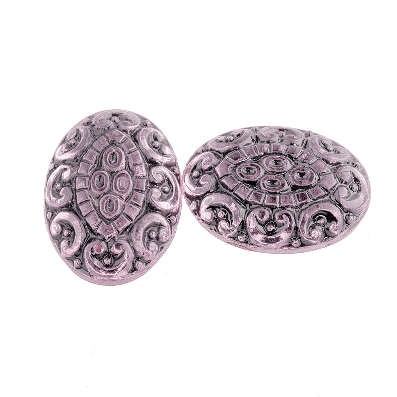 Pressed light pink foiled German glass oval cabochon with black enamel. 15x13mm.  Pkg 2. b5-973