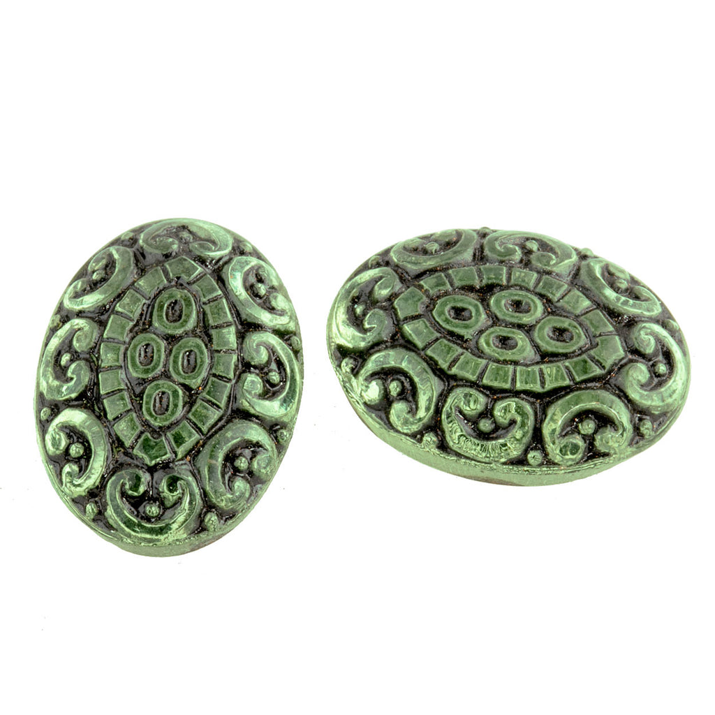 Pressed light green foiled German glass oval cabochon with black enamel. 18x13mm.  Pkg 2. b5-974