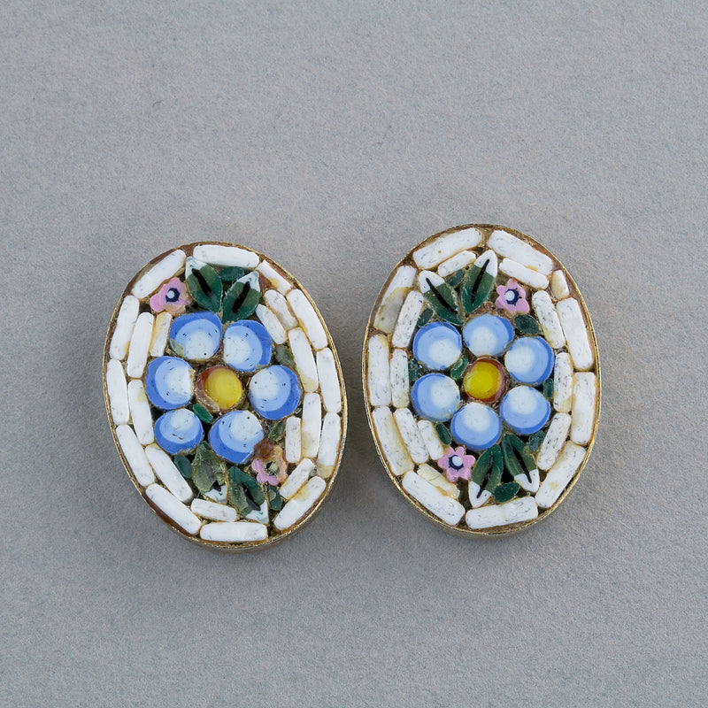 Vintage Italian glass mosaic floral design cabochon in brass bezel.  18x14mm. Pkg. 2. b5-975