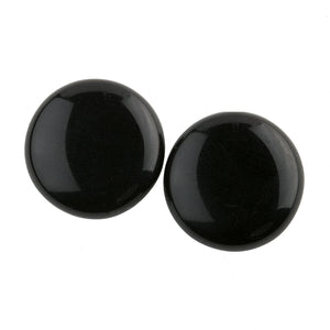 Round flat back Jet black German glass cabochon.  18mm.  Pkg 2. b5-976