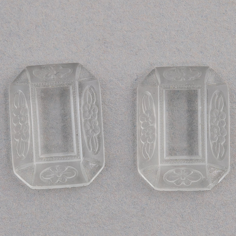 Vintage pressed frosted glass hexagonal cabochon with clear glass center . 14x10mm.Pkg. 2. b5-977