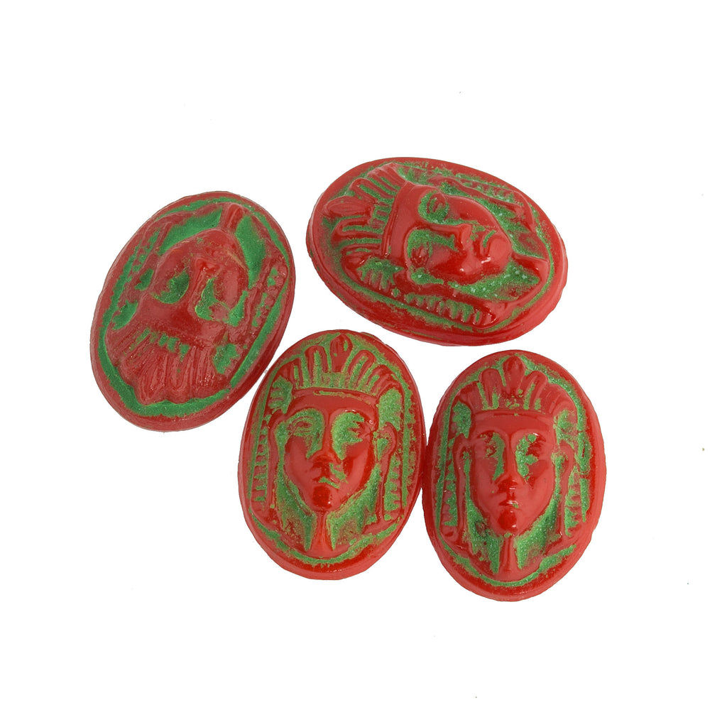 Vintage Egyptian pharaoh head cameo cabochon.Red glass with green decor. 16x11mm. Czechoslovakia. Pkg of 2. b5-982