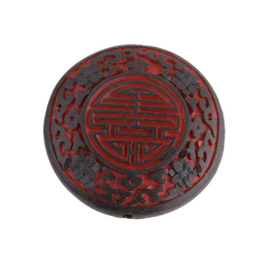 Black and red carved cinnabar lacquer disk, 55mm dia, pkg of 1. B7-CIN104(e)